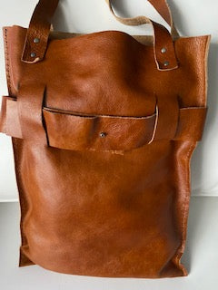 Brown Belted Leather Tote Bag