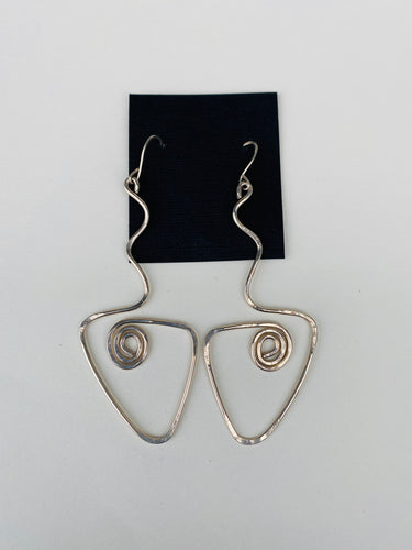 Silver Long V Coiled Earrings