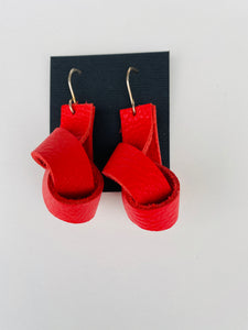 Red Leather Knot Earrings