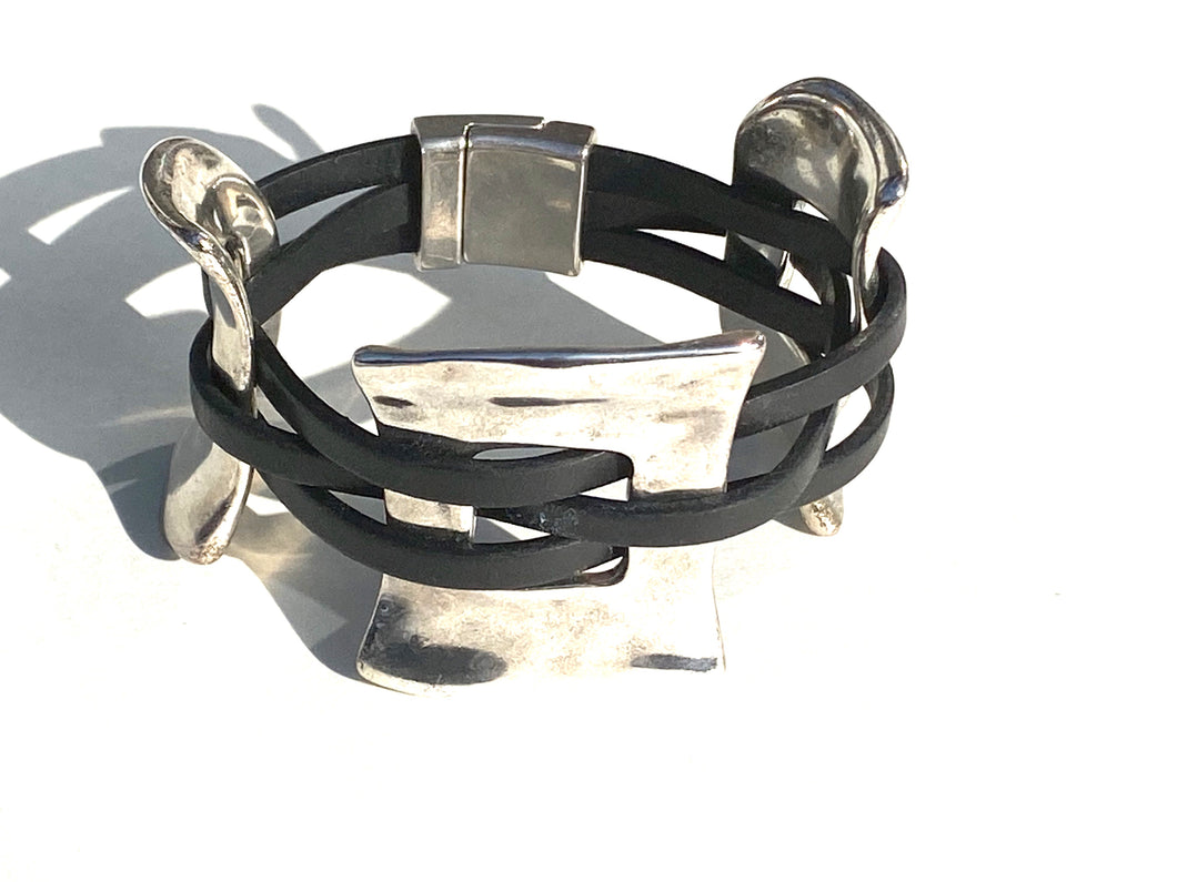 Silver Three Piece Cuff Leather Bracelet