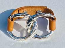 Load image into Gallery viewer, Silver Large Double Chain & Leather Bracelet