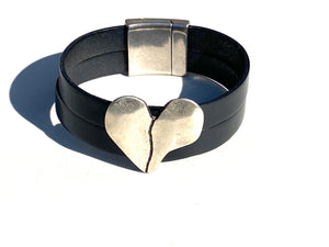 Silver Split Heart Leather Bracelet