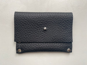 Black Riveted Leather Card Holder