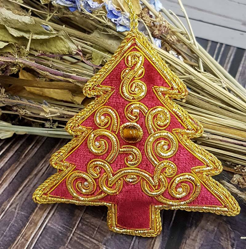 Christmas Tree - Embroidered Tree Decoration - Handmade - Jane Austen Online