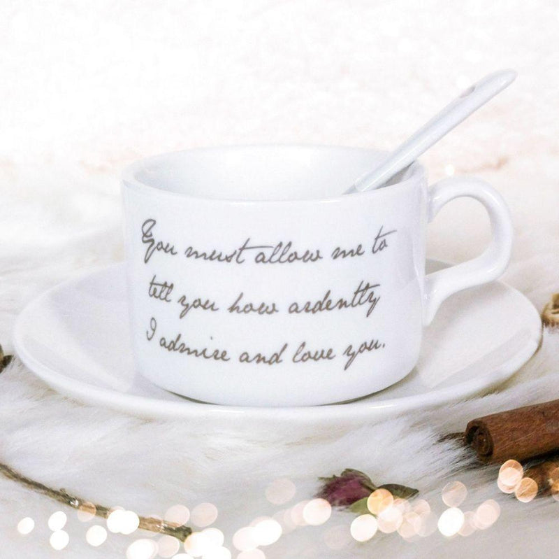 Taza de té, platillo y cuchara de Jane Austen - JaneAusten.co.uk