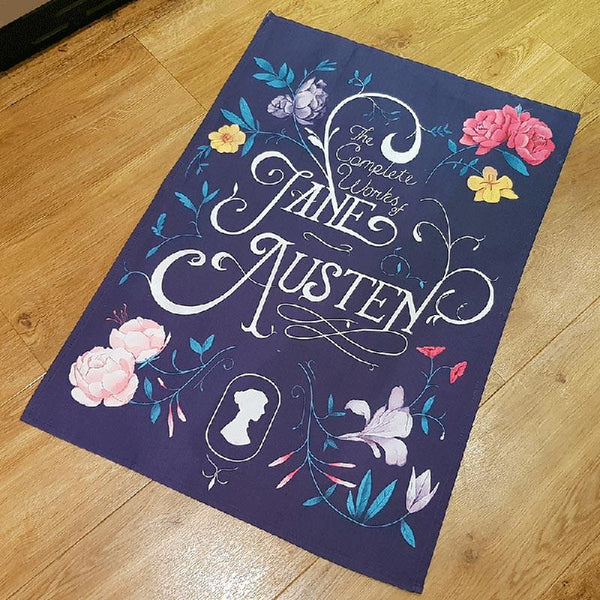 Exclusive Jane Austen Tea Towel - The Complete Works - JaneAusten.co.uk