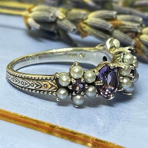 Regency Amethyst and Freshwater Pearl Charlotte Ring