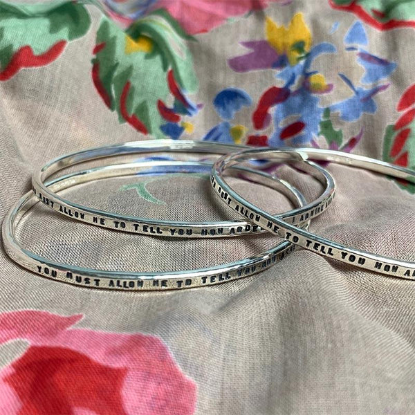Romantic Oval Jane Austen Silver Bangle - Pride and Prejudice Darcy Quote - Jane Austen Online