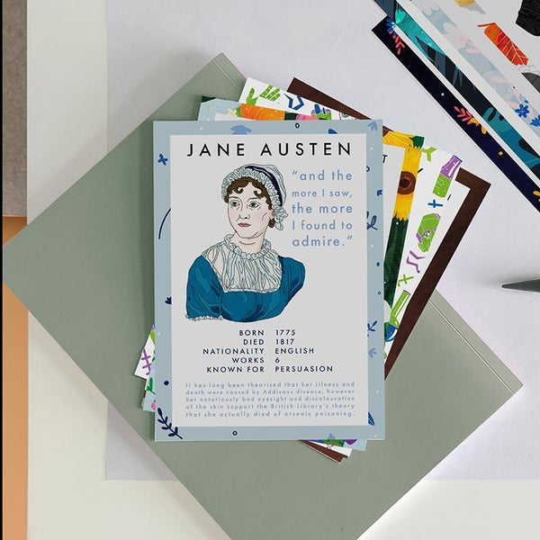 Literary Author Postcards - Pack of 12 - JaneAusten.co.uk