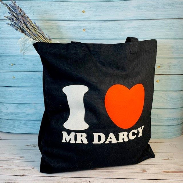 I Love Mr Darcy Tote - Black - JaneAusten.co.uk