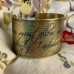 Jane Austen Cuff Bracelet - Mr Darcy's Proposal