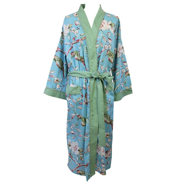 Georgina Ladies Dressing Gown - Blue Blossom - JaneAusten.co.uk