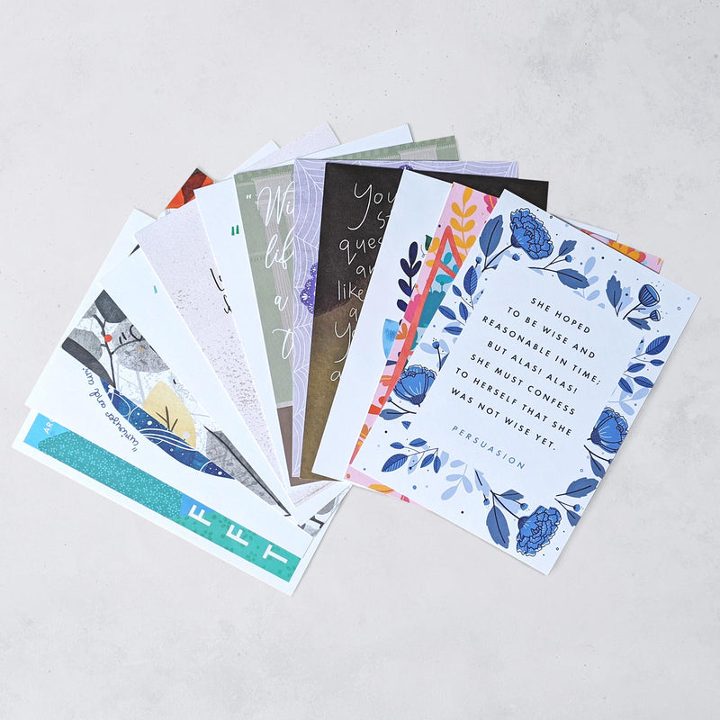 Classic Book Quote Postcards - Pack de 12 - JaneAusten.co.uk