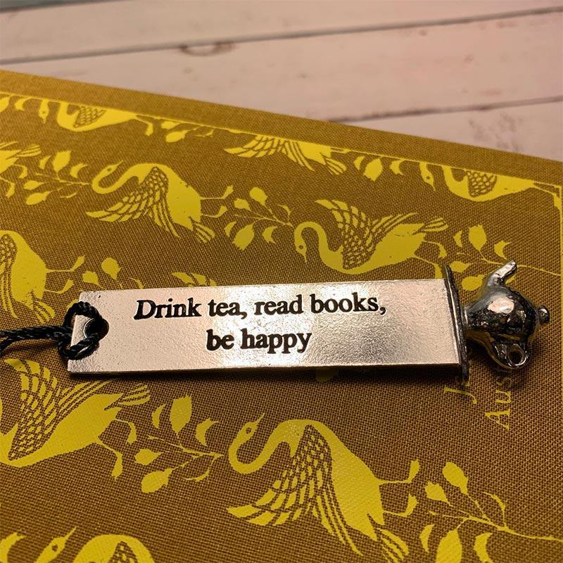 'Drink Tea, Read Books and Be Happy' Teapot Design Pewter Bookmark - JaneAusten.co.uk