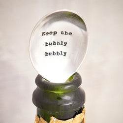 Hand Stamped Vintage Fizz Saver - 'Keep The Bubbly Bubbly' - JaneAusten.co.uk