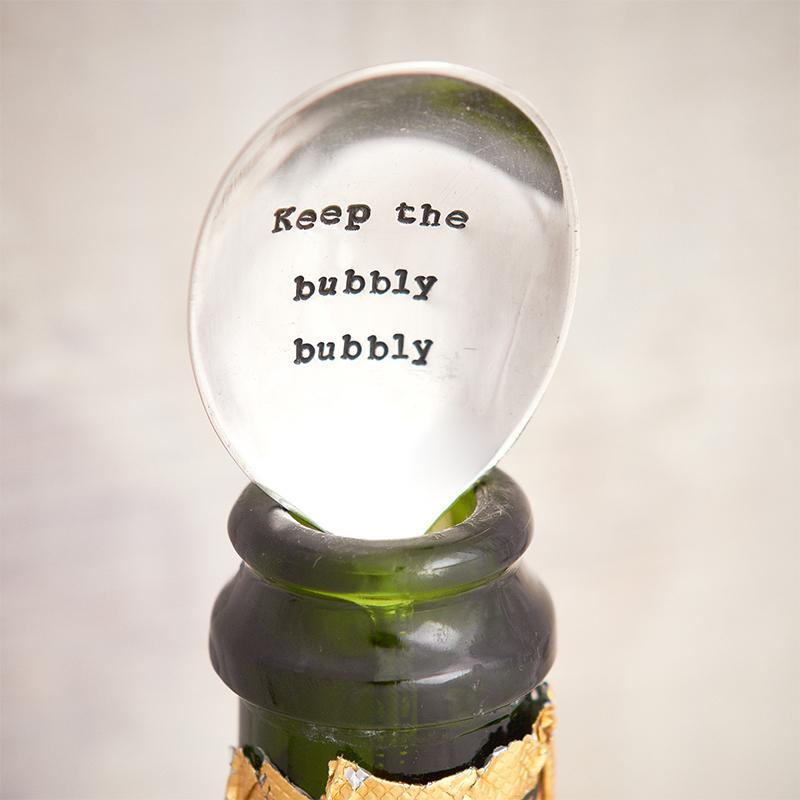"Handgestempelter Vintage Fizz Saver - ""Keep The Bubbly Bubbly"" - JaneAusten.co.uk"