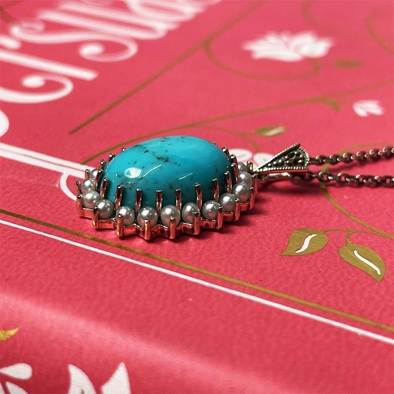 Beautiful Silver, Pearl and Turquoise Jane Austen Cabochon Necklace