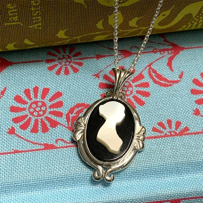Exclusive Jane Austen Mother of Pearl Cameo Necklace - JaneAusten.co.uk