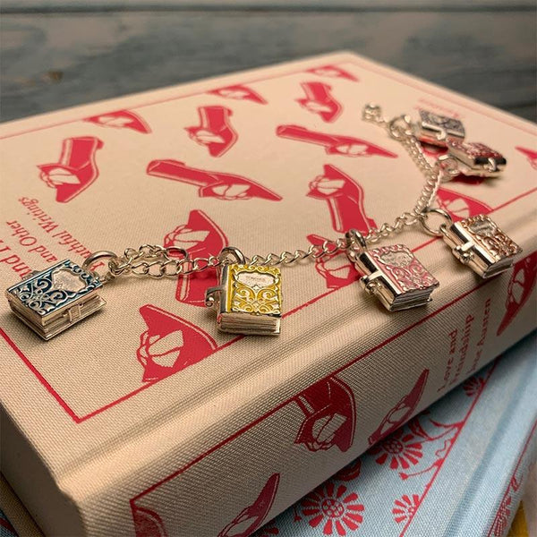 Sterling Silver and Enamel Book Charm Bracelet - JaneAusten.co.uk