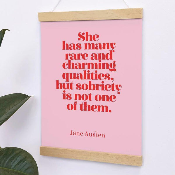 Jane Austen Quote A4 Print - 'Rare and Charming Qualities' - JaneAusten.co.uk
