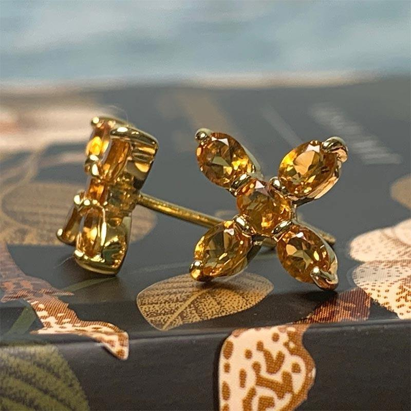 Citrine и Gold-Plated Silver Cross Earrings-