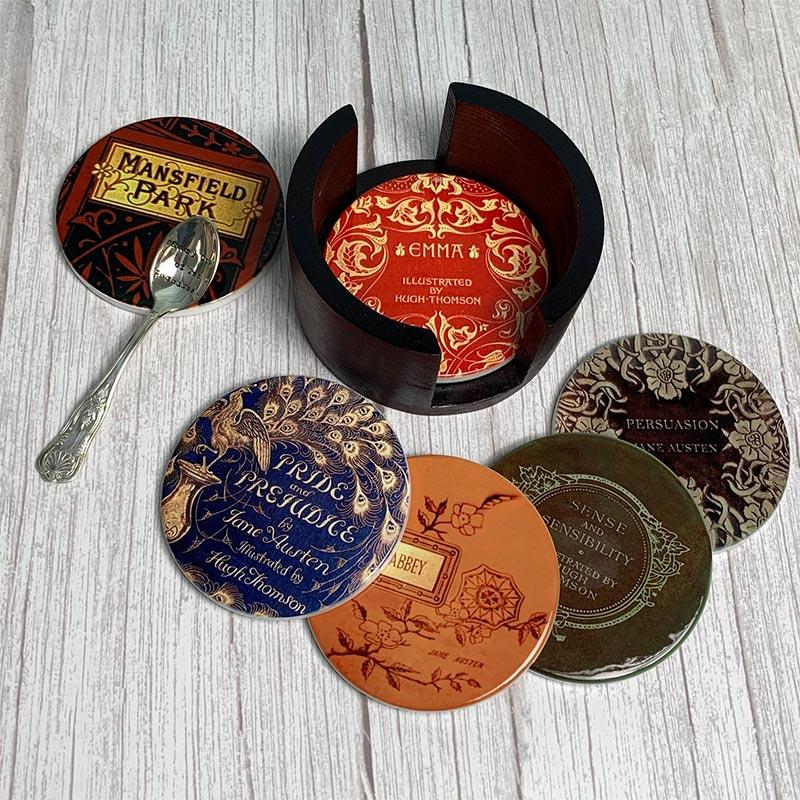 Jane Austen Novels - Vintage Ceramic Coaster Set - JaneAusten.co.uk