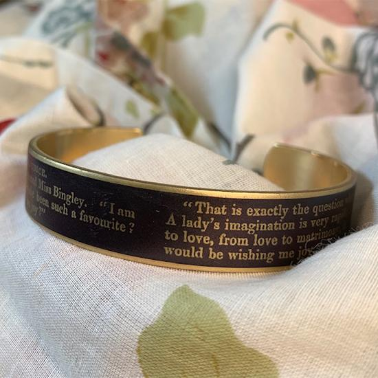 Jane Austen Cuff Bracelet - Pride and Prejudice Quotation - JaneAusten.co.uk