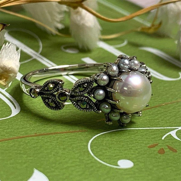 Dashwood Marcasite and Freshwater Pearl Silver Ring - JaneAusten.co.uk