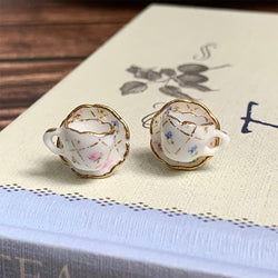 Hand Finished Teacup and Saucer Earrings - JaneAusten.co.uk