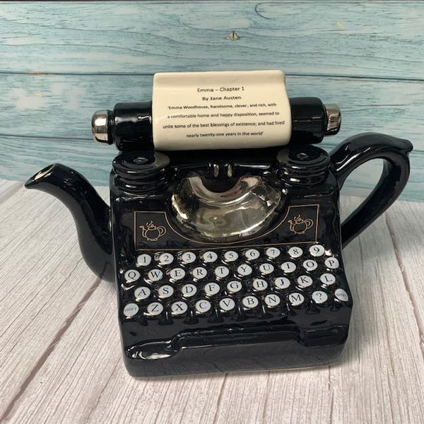"Exclusively Handmade Typewriter Teapot - ""Emma Chapter 1"" - JaneAusten.co.uk"