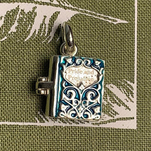 Sterling Silver and Enamel Pride and Prejudice Book Charm - JaneAusten.co.uk