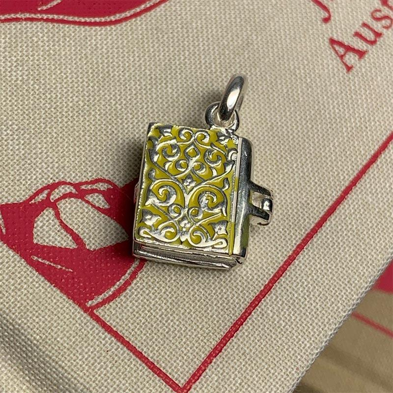 Sterling Silver and Enamel Emma Book Charm - JaneAusten.co.uk