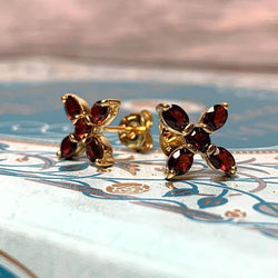 Exclusive Elizabeth Bennet Inspired Garnet Cross Earrings