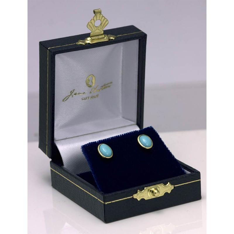 Beautiful Gold and Turquoise Stud Jane Austen Earrings - JaneAusten.co.uk