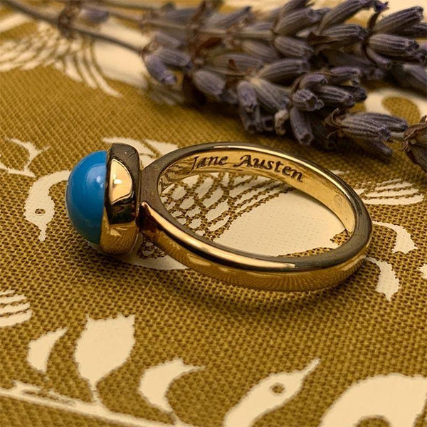 Jane Austen's Ring Replica crafted in 9ct Gold and Turquoise - JaneAusten.co.uk