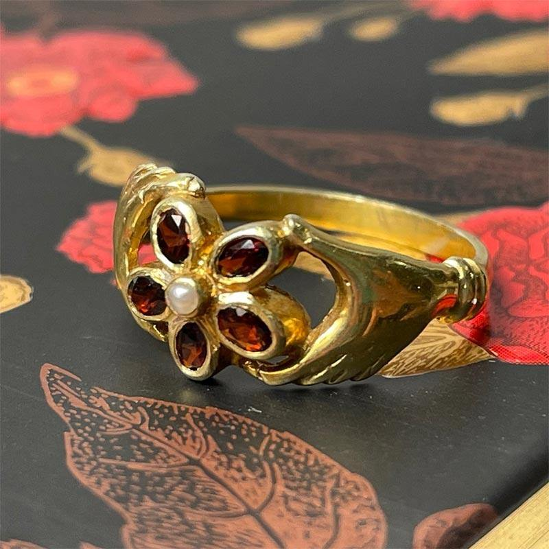 Gold Plated Regency Ring with Garnet and Pearl
