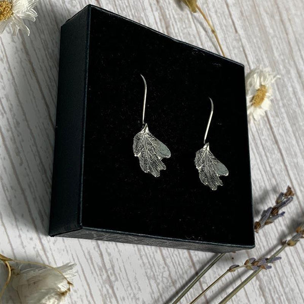 Pewter and Silver Hawthorn Leaf Earrings - JaneAusten.co.uk