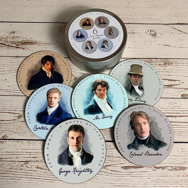 Set di 6 sottobicchieri Heroes di Jane Austen - JaneAusten.co.uk