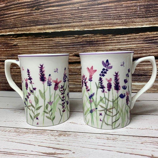 Set of 2 Longbourn Lavender Mugs - JaneAusten.co.uk