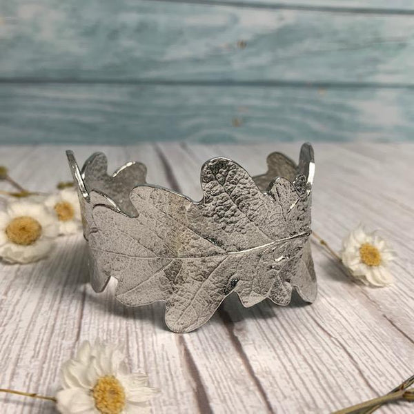 Pemberley Oak Leaf Design Pewter Cuff - JaneAusten.co.uk