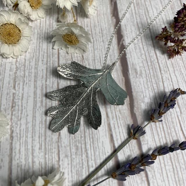 Pewter Hawthorn Leaf Pendant Necklace - JaneAusten.co.uk