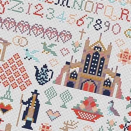 Jane Austen's Life - Jane Austen Counted Cross Stitch Sampler Kit - JaneAusten.co.uk