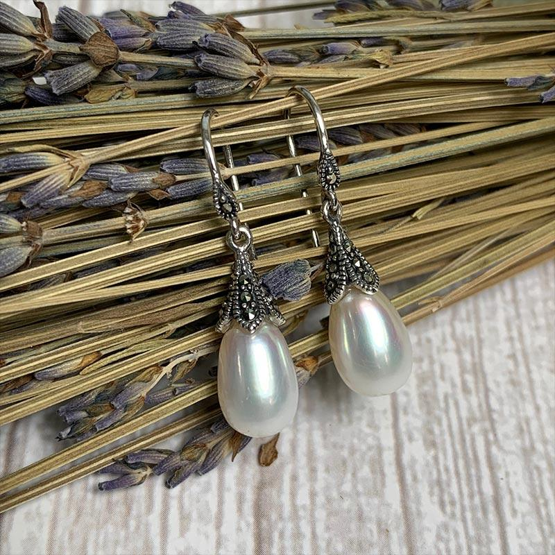 Dashwood Freshwater Pearl and Marcasite Silver Earrings - JaneAusten.co.uk