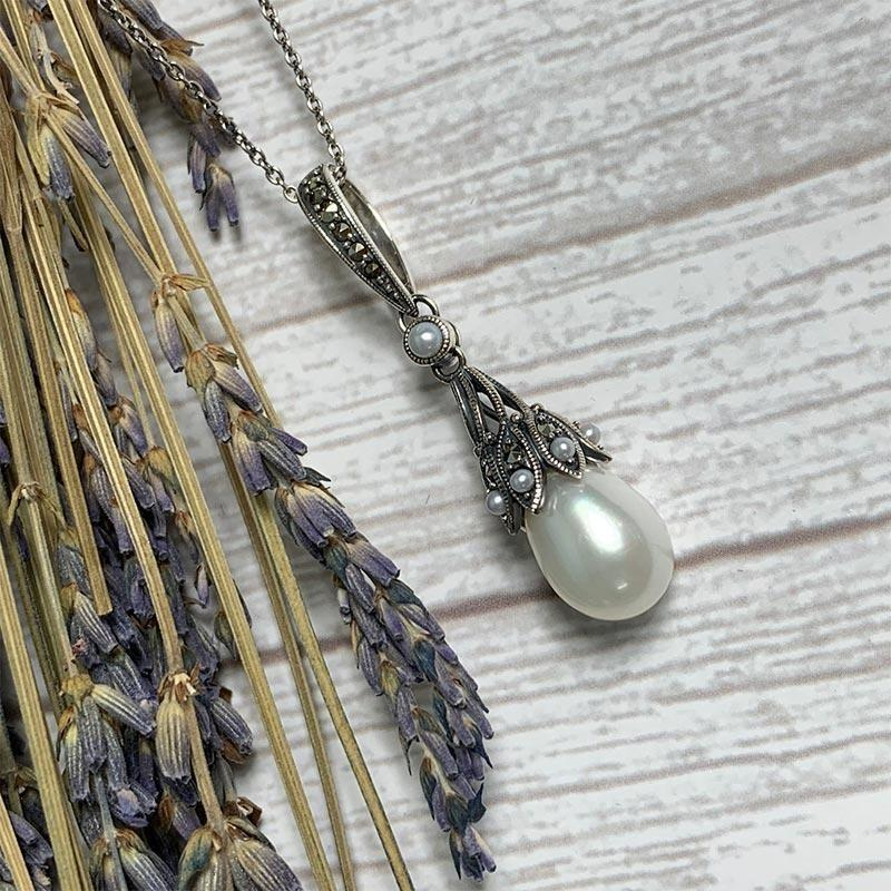 Dashwood Freshwater Pearl and Marcasite Silver Necklace - JaneAusten.co.uk