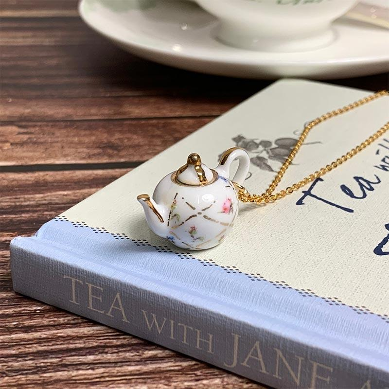 Hand Finished Teapot Necklace - JaneAusten.co.uk