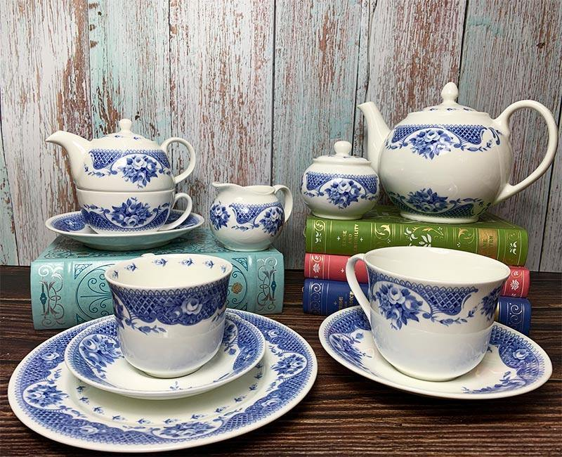 Juego exclusivo de taza de té, plato y plato Regency de Bone China - Colección Jane Austen Netherfield