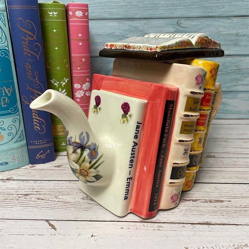Exclusive Handmade Jane Austen Teapot - Stacked Novels