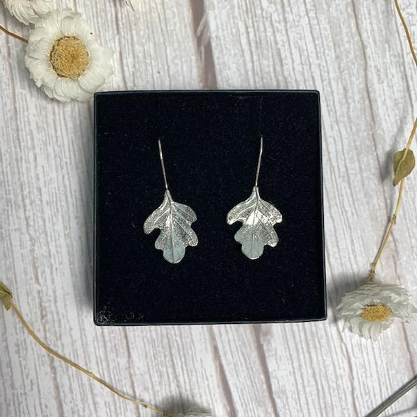 Pemberley Oak Leaf Design Pewter and Silver Earrings - JaneAusten.co.uk