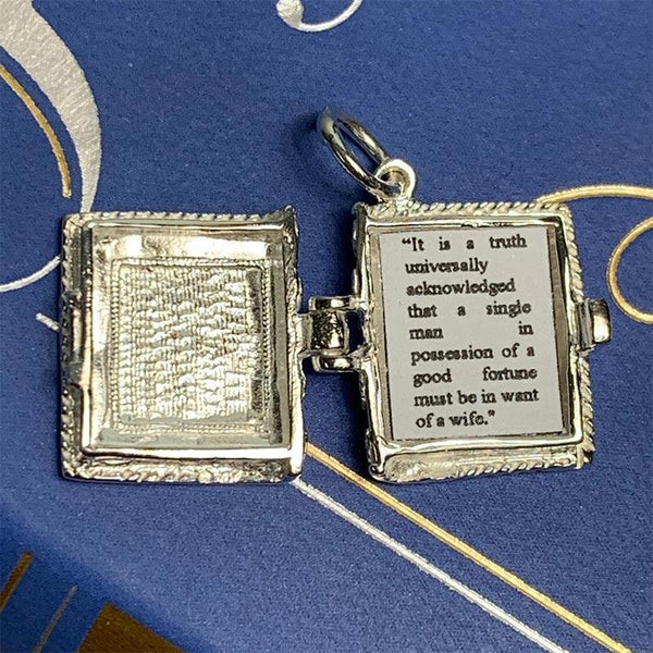 Silver Pride and Prejudice Book Charm Pendant - JaneAusten.co.uk