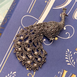 Pride and Prejudice Silver, Marcasite and Pearls Peacock Brooch